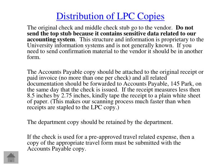 Distribution of LPC Copies