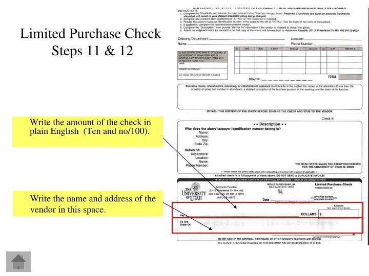Write the amount of the check in plain English  (Ten and no/100).