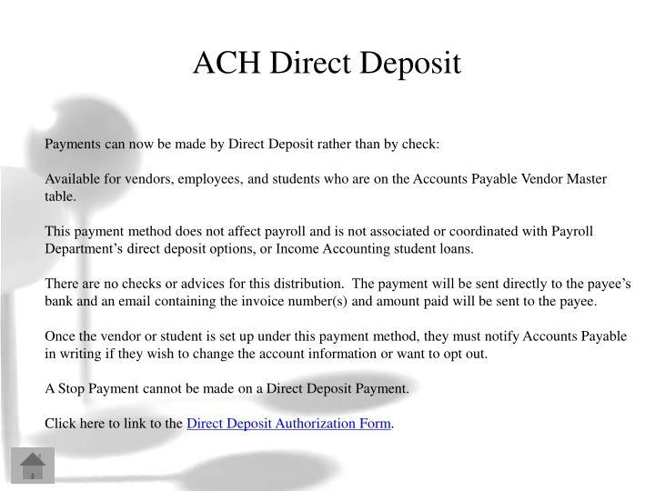 ACH Direct Deposit