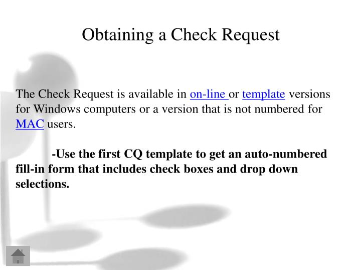 Obtaining a Check Request