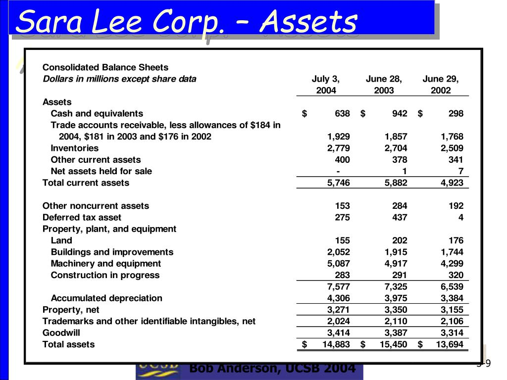 Sara Lee Corp. – Assets Accounts
