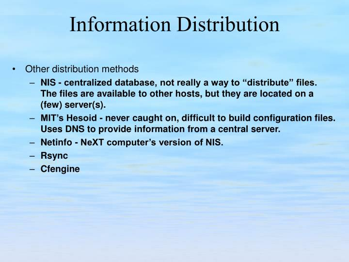 Other distribution methods