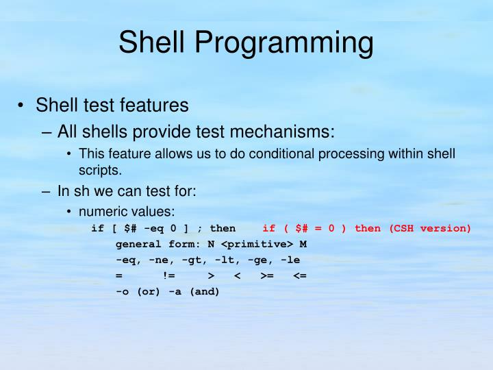 Shell test features