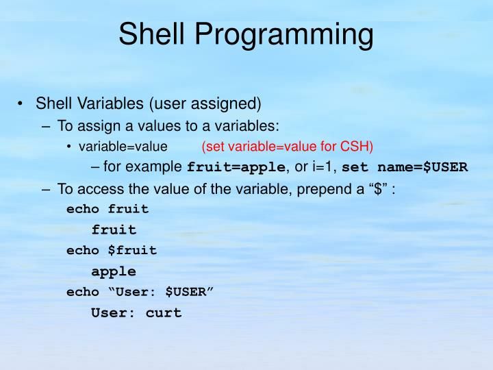 Shell Variables (user assigned)