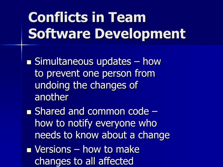 Conflicts in team software development l.jpg