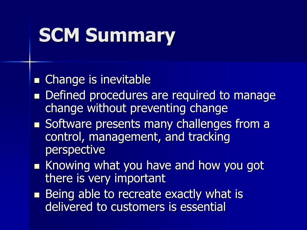 SCM Summary