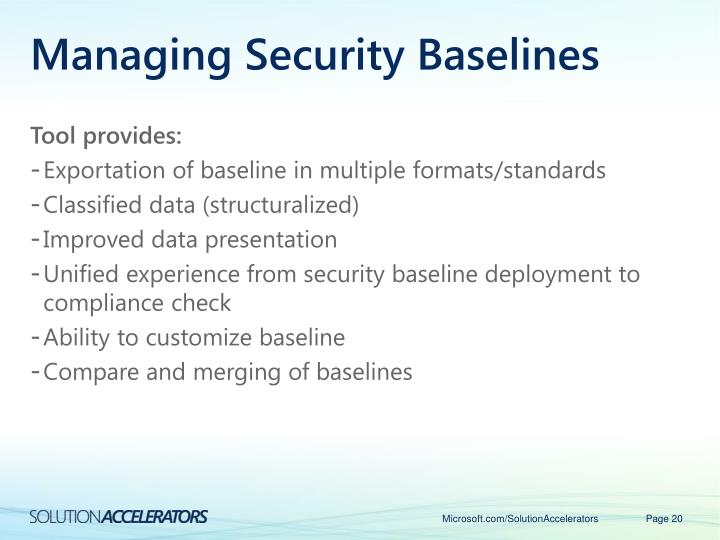 Managing Security Baselines