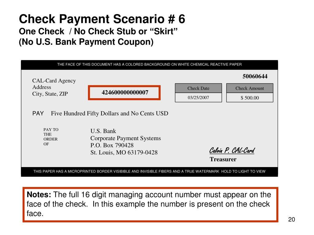 Check Payment Scenario # 6