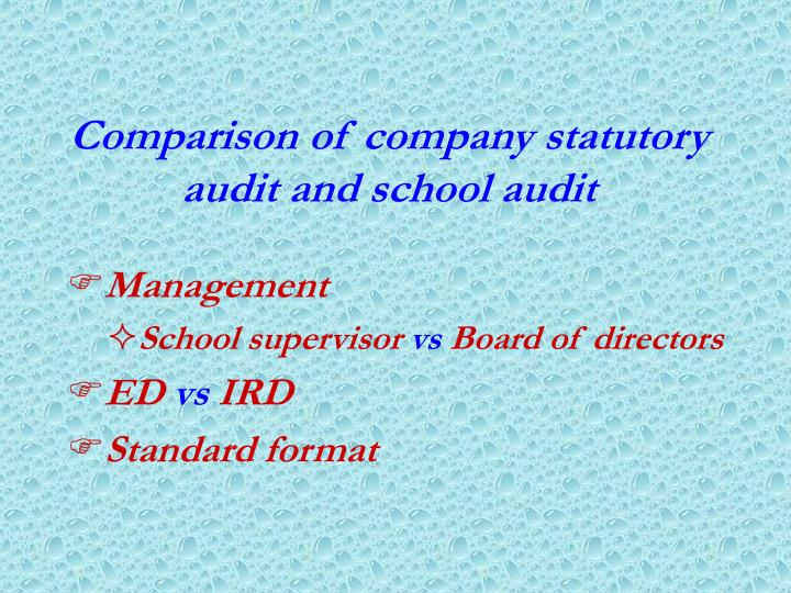 Comparison of company statutory audit and school audit