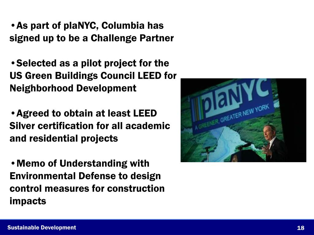 As part of plaNYC, Columbia has signed up to be a Challenge Partner