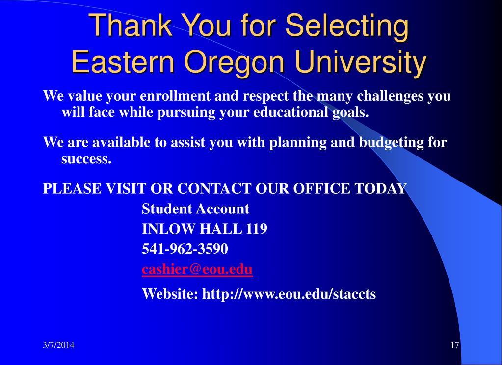 Thank You for Selecting Eastern Oregon University