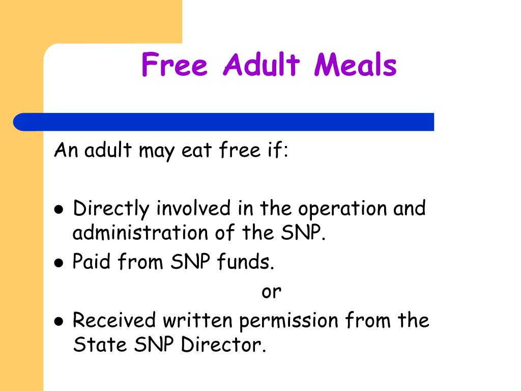 Free Adult Meals