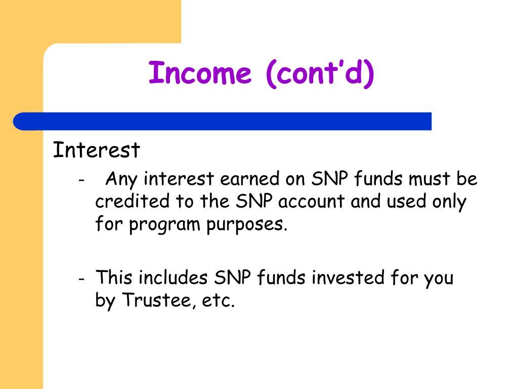 Income (cont'd)
