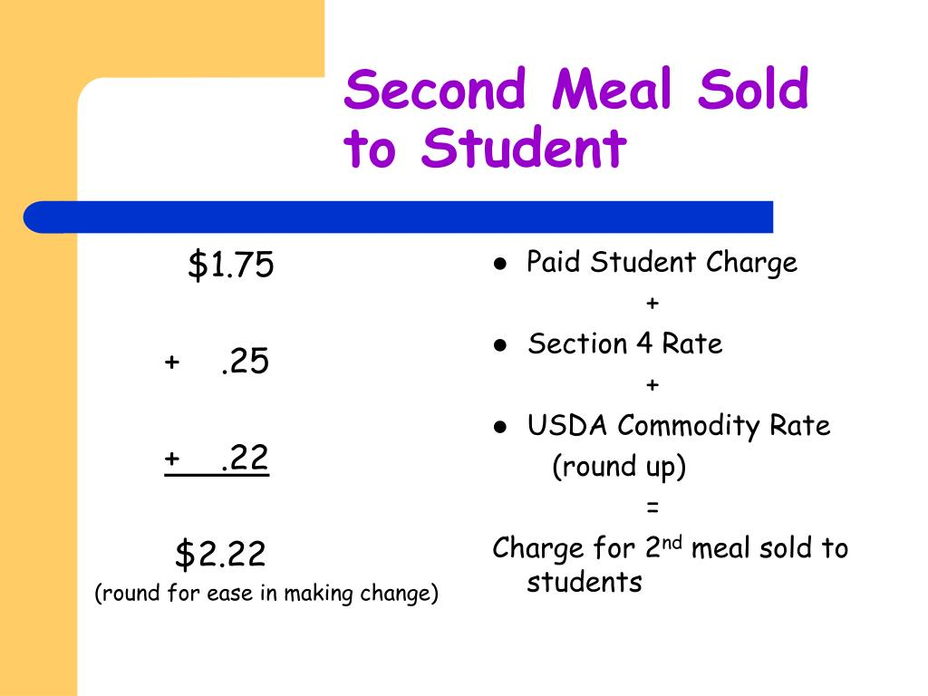 Second Meal Sold to Student