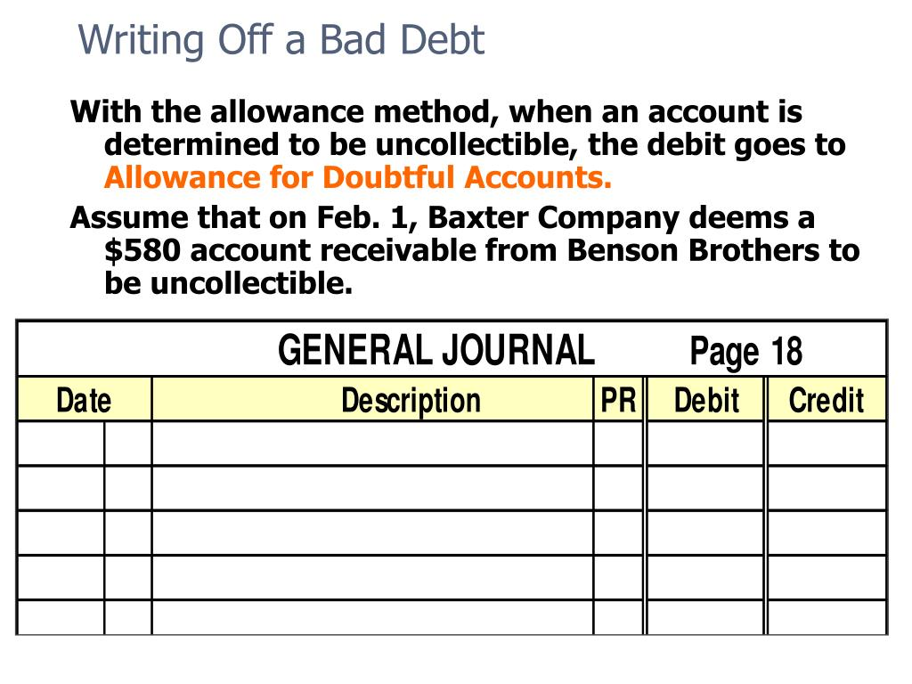 Writing Off a Bad Debt