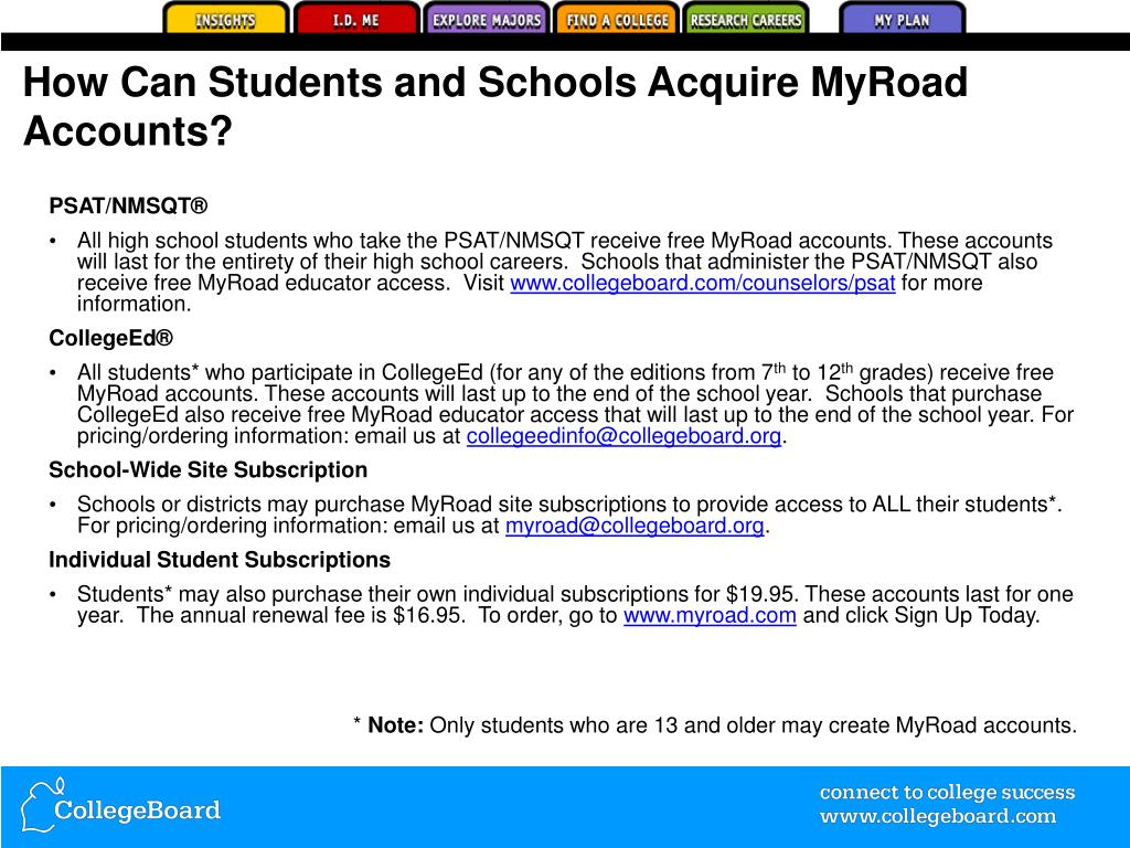 How Can Students and Schools Acquire MyRoad Accounts?