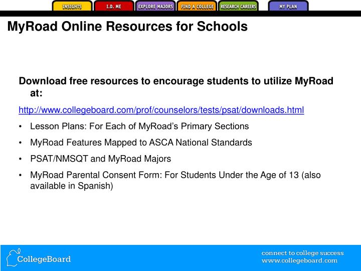 Myroad online resources for schools