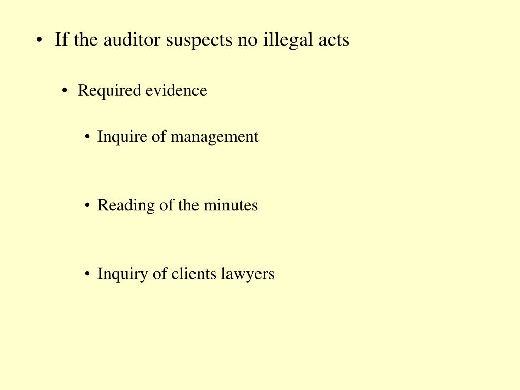 If the auditor suspects no illegal acts