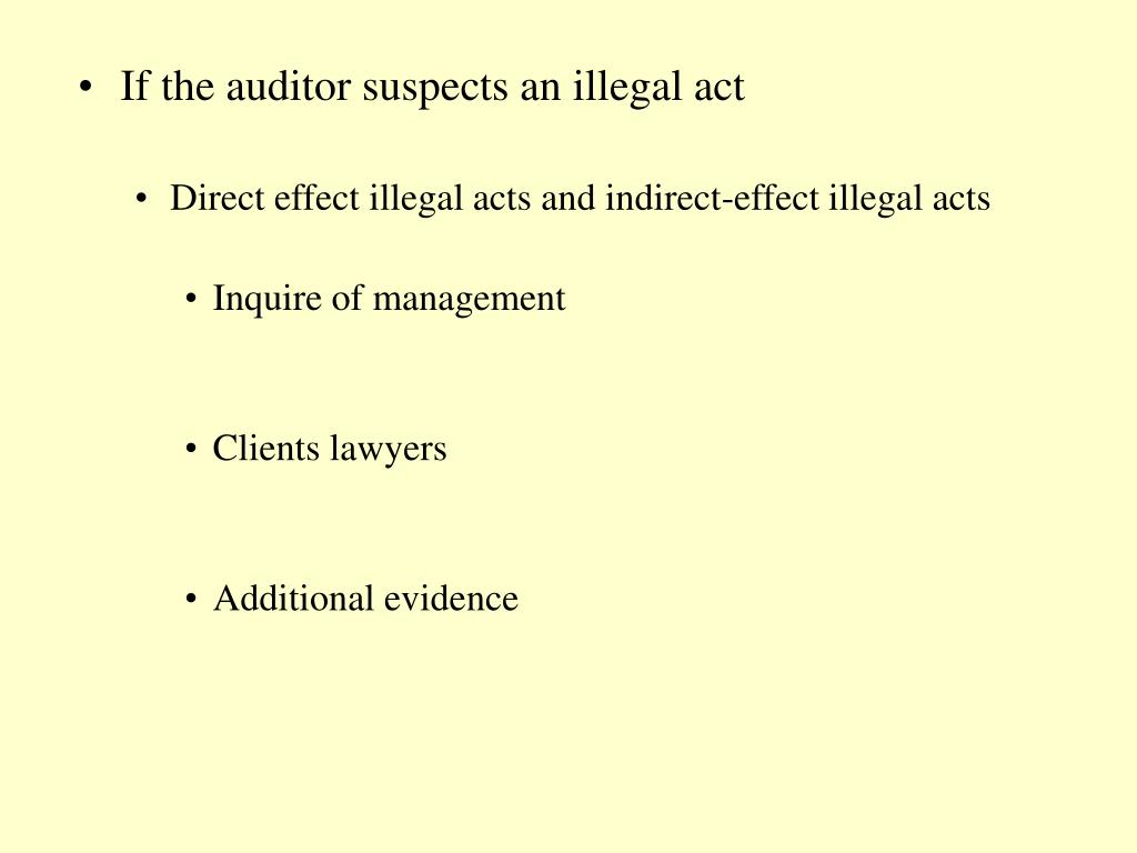 If the auditor suspects an illegal act