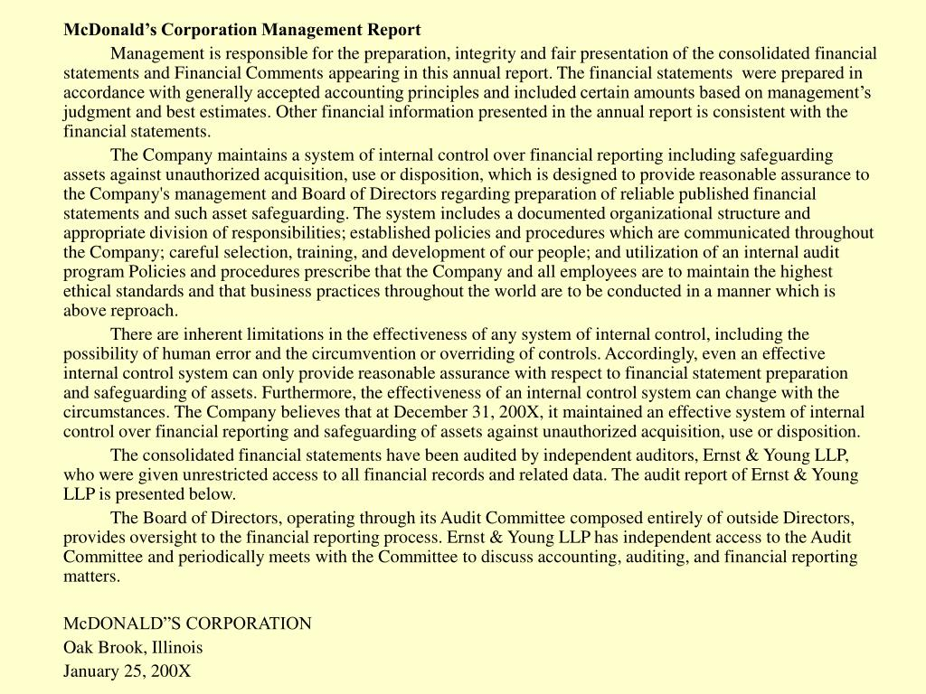 McDonald's Corporation Management Report