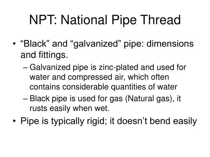 Npt national pipe thread