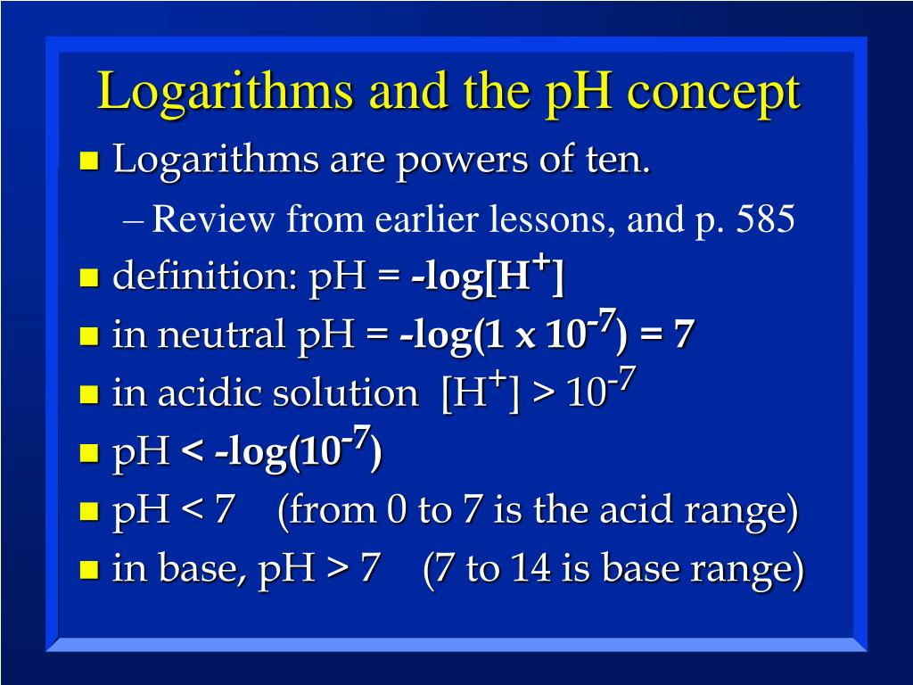 Logarithms and the pH concept