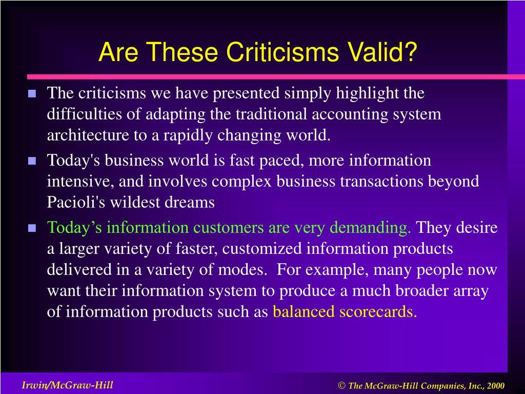 Are These Criticisms Valid?