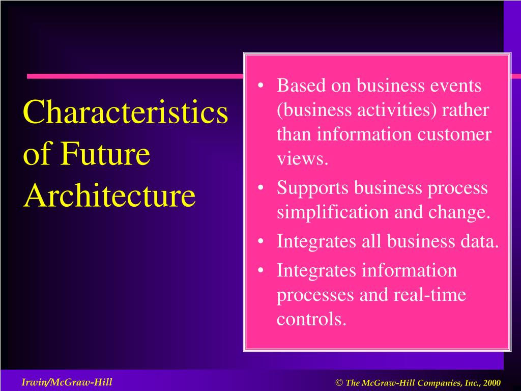 Based on business events (business activities) rather than information customer views.