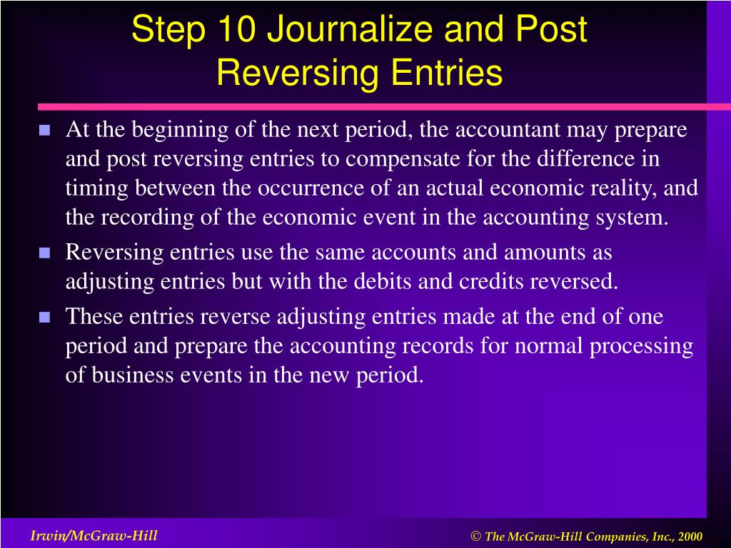 Step 10 Journalize and Post Reversing Entries