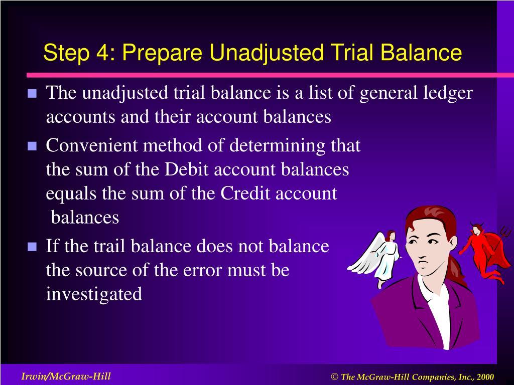 Step 4: Prepare Unadjusted Trial Balance