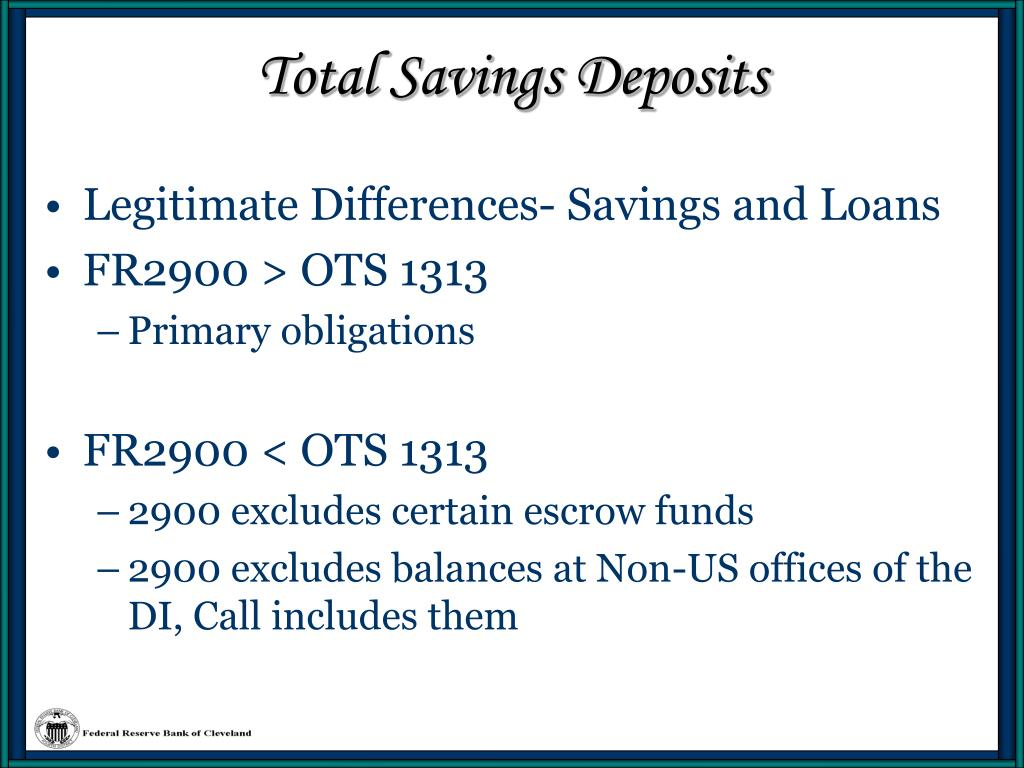 Total Savings Deposits