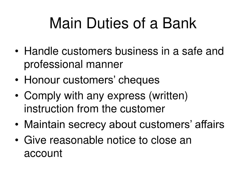 Main Duties of a Bank