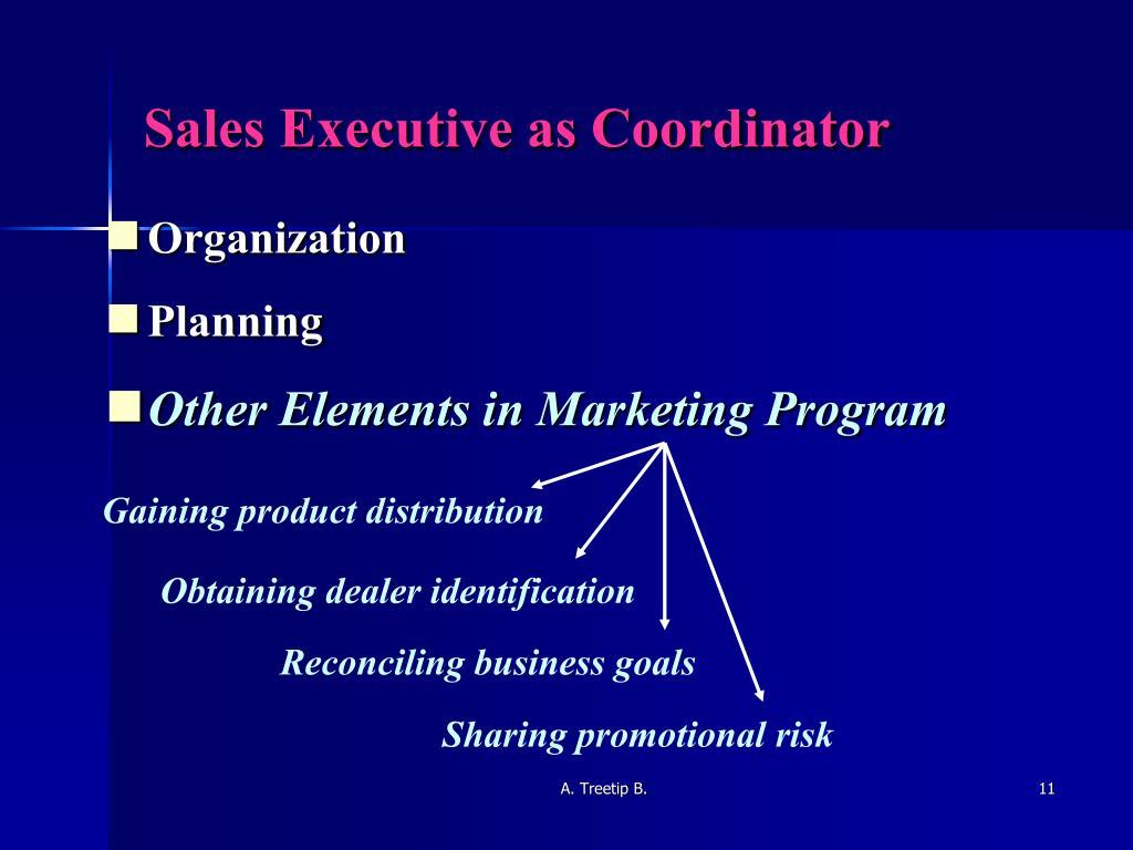 Sales Executive as Coordinator