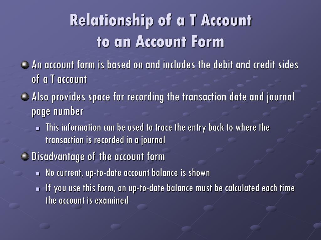 Relationship of a T Account