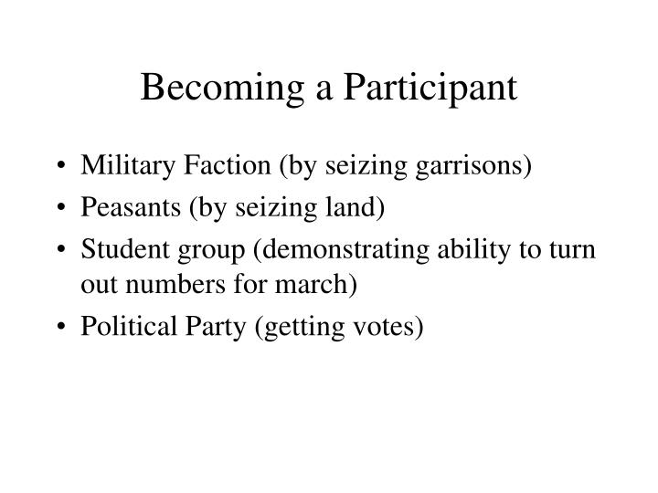 Becoming a Participant