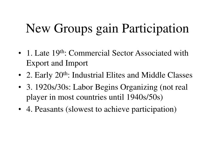 New Groups gain Participation