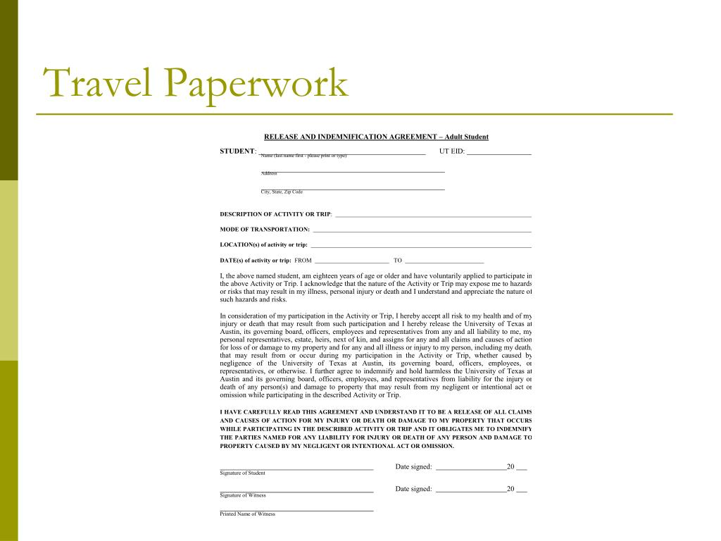 Travel Paperwork