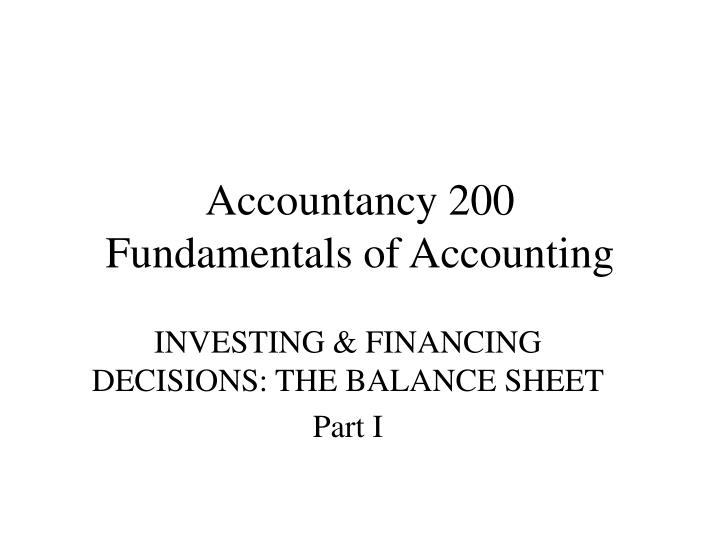 Accountancy 200 fundamentals of accounting