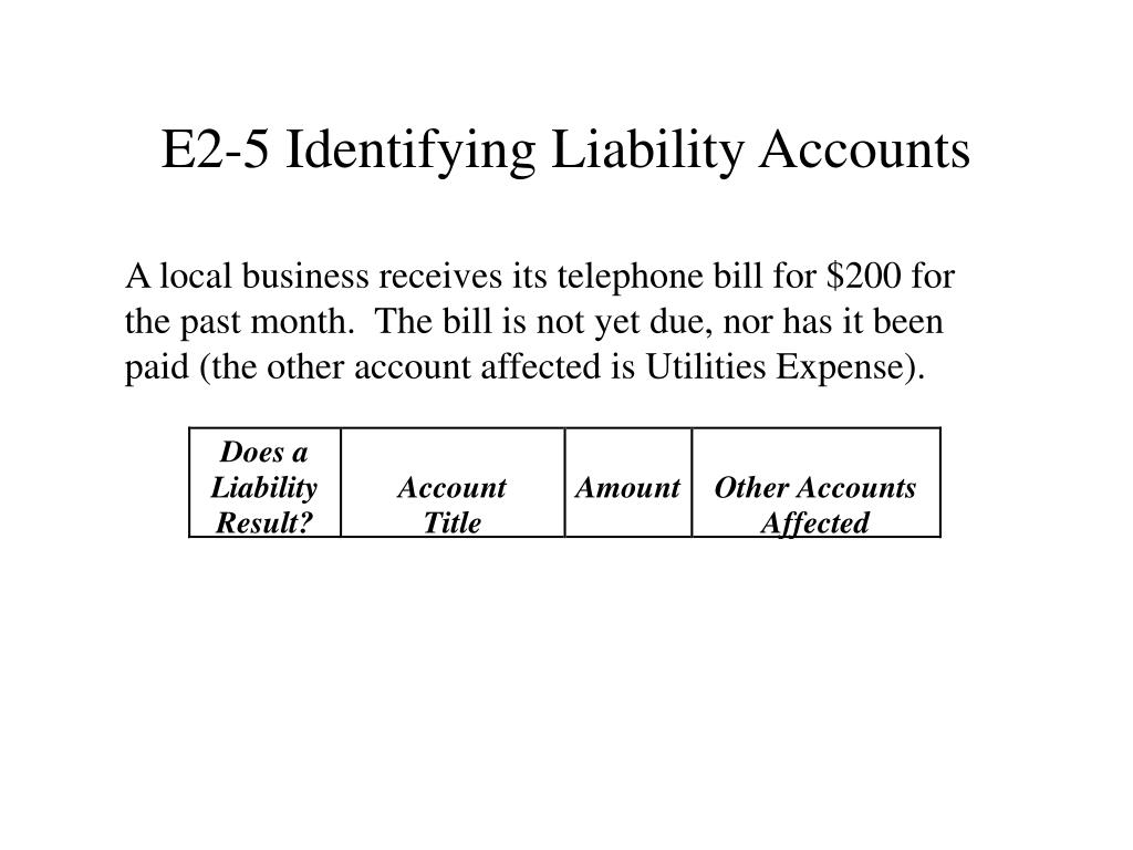 E2-5 Identifying Liability Accounts