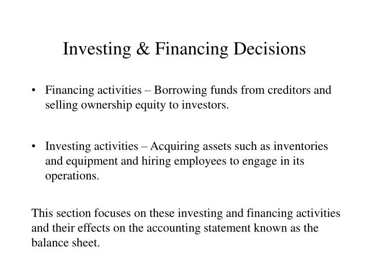 Investing financing decisions