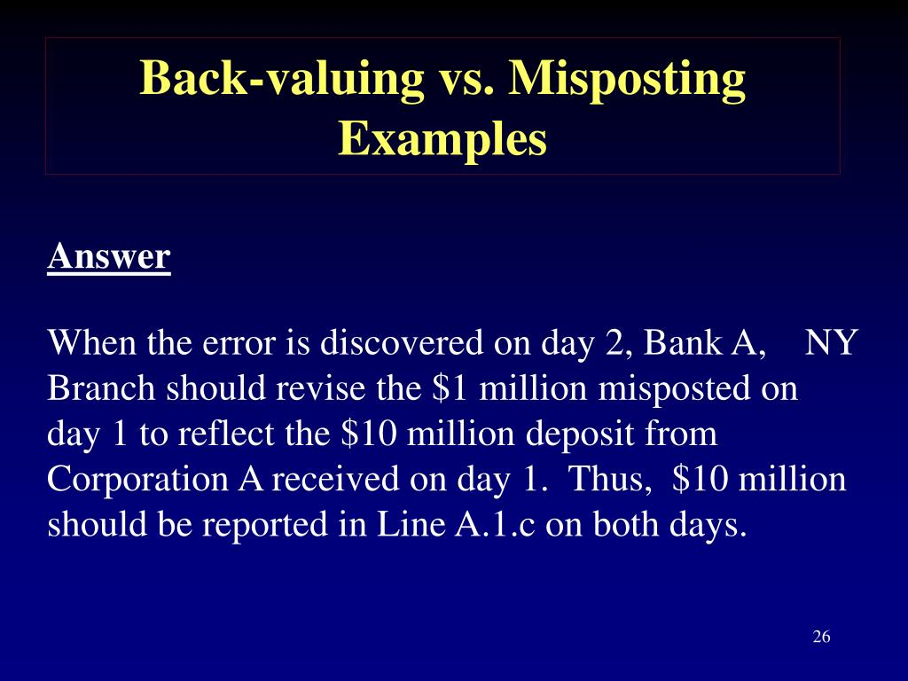 Back-valuing vs. Misposting
