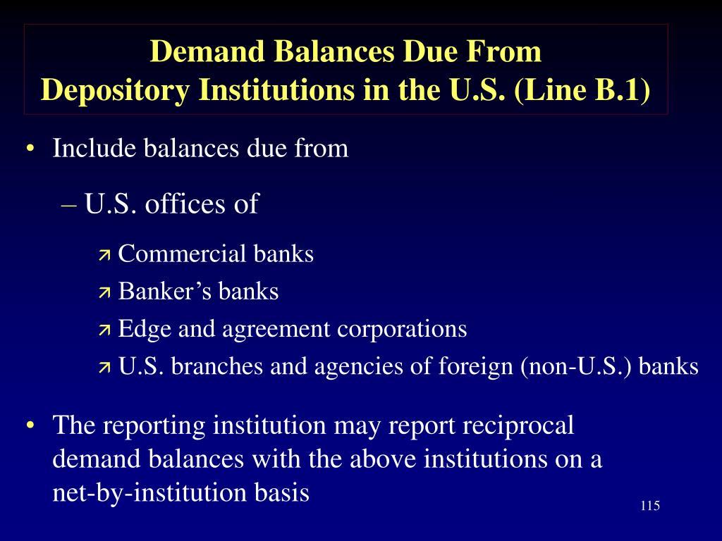 Demand Balances Due From