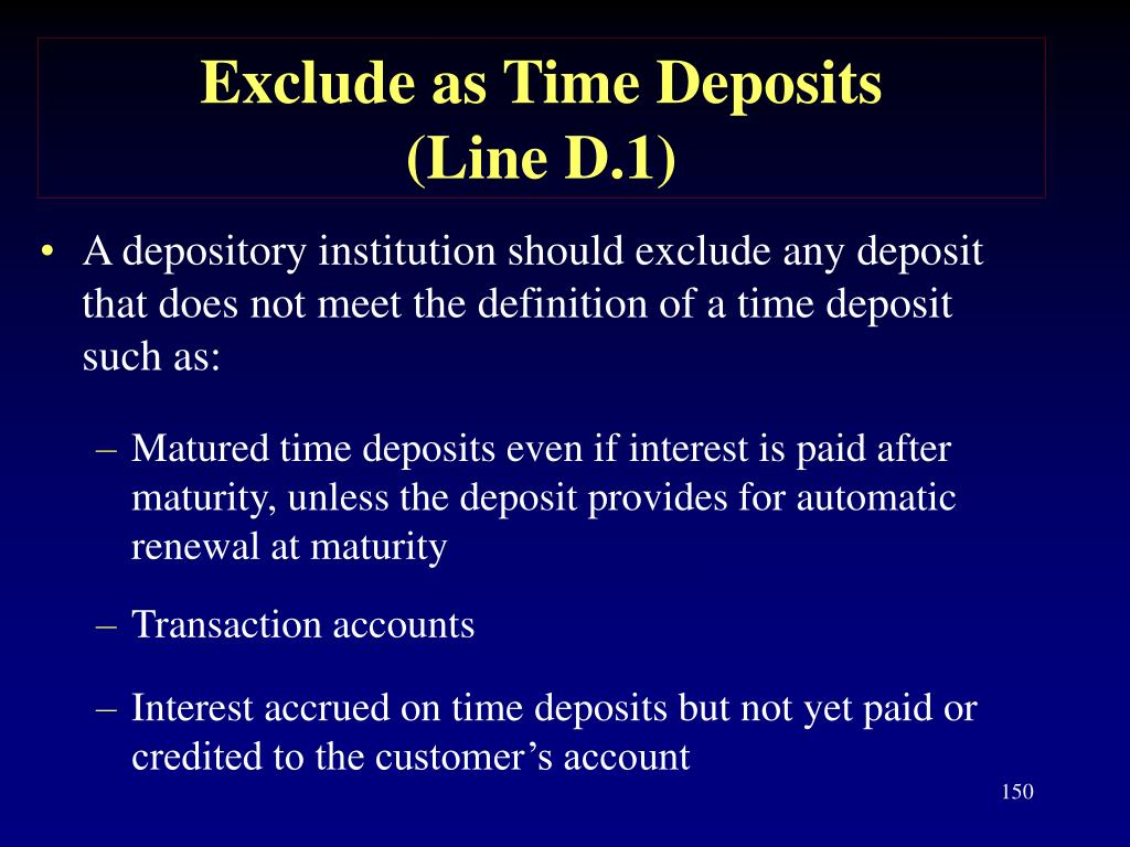 Exclude as Time Deposits