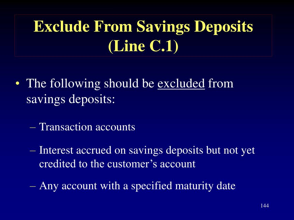 Exclude From Savings Deposits