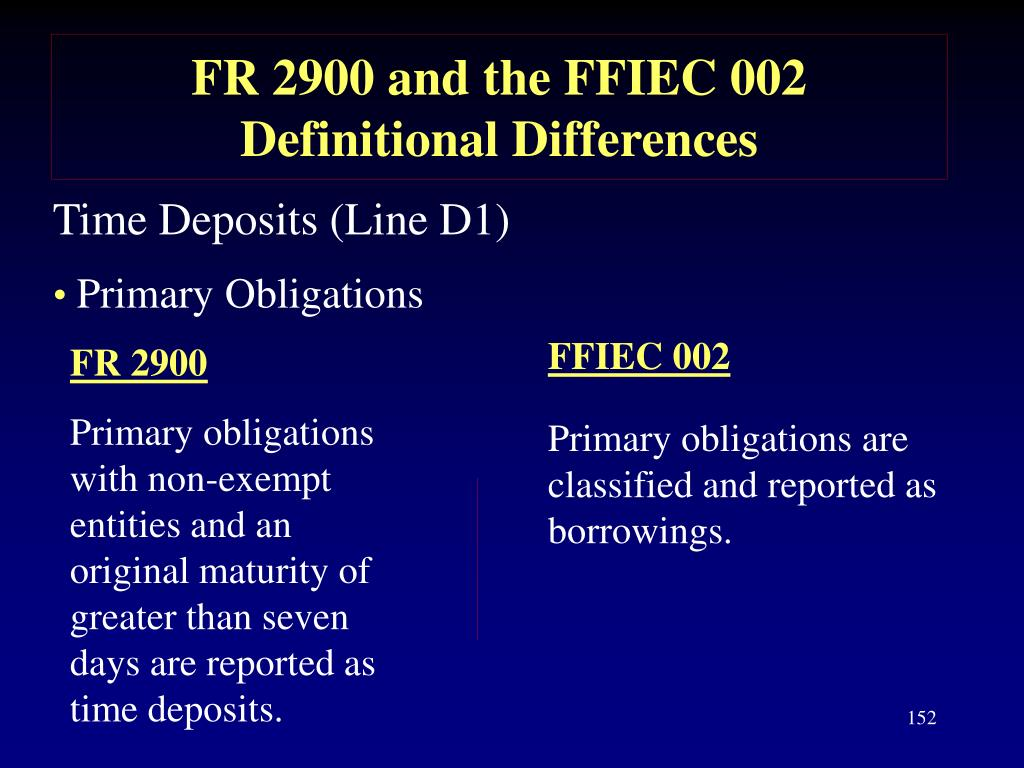 FR 2900 and the FFIEC 002