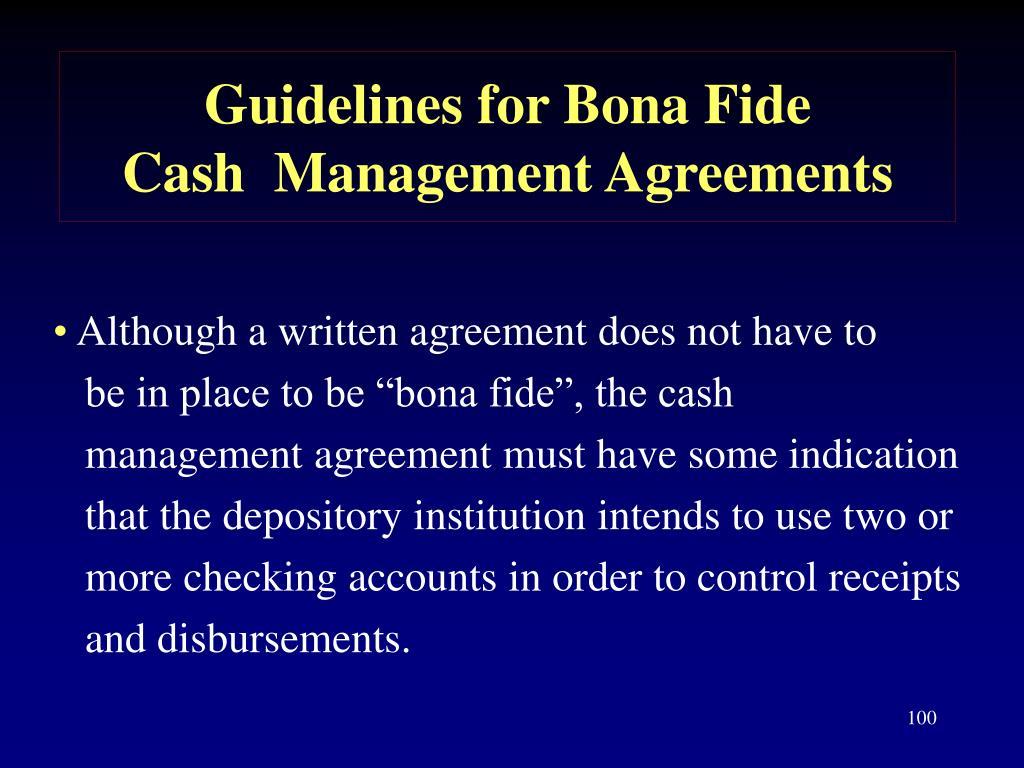Guidelines for Bona Fide