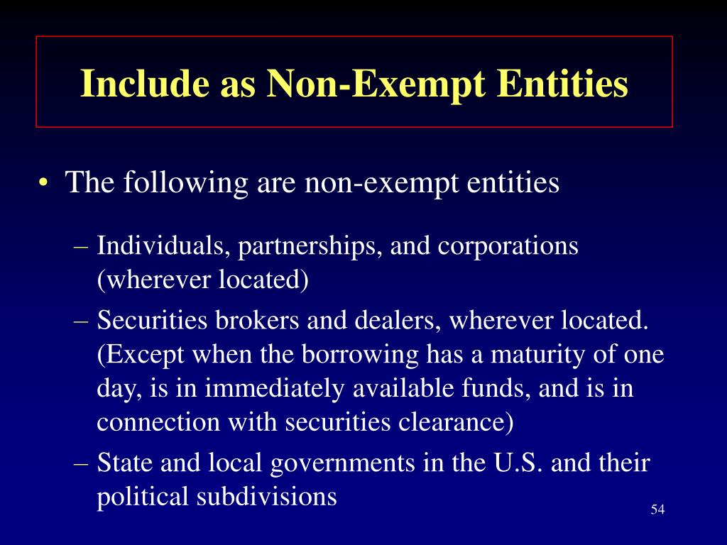 Include as Non-Exempt Entities