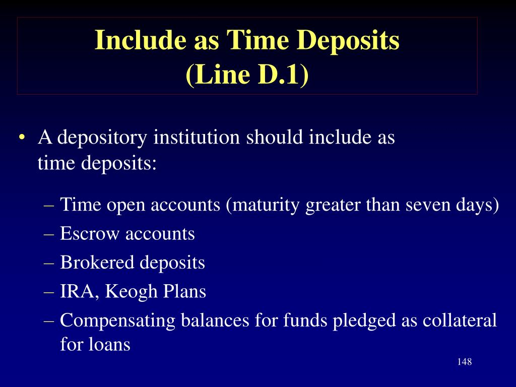 Include as Time Deposits