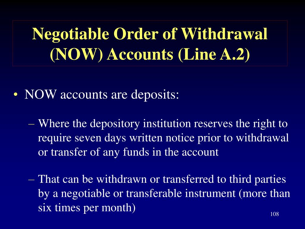 Negotiable Order of Withdrawal