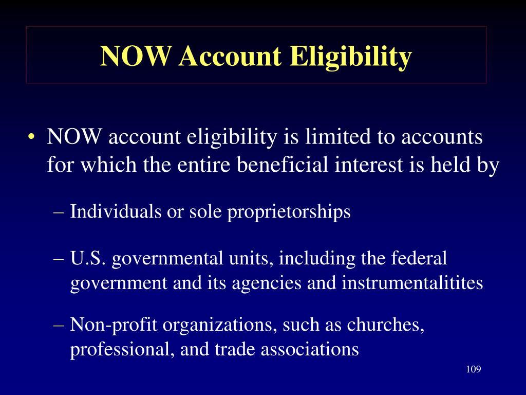 NOW Account Eligibility